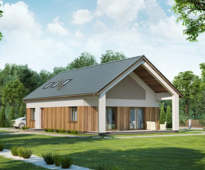 Проект мансардного дома с террасой S135 - фото №1