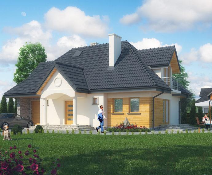 Проект мансардного дома с гаражом S136 - фото №1