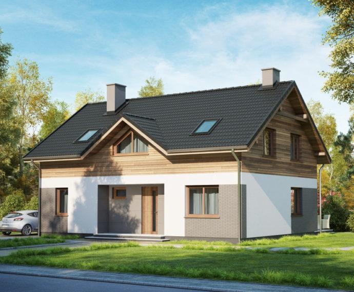 Проект мансардного дома с террасой S149 - фото №1