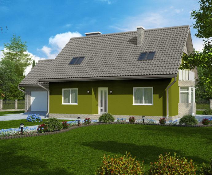 Проект мансардного дома с гаражом S167 - фото №1