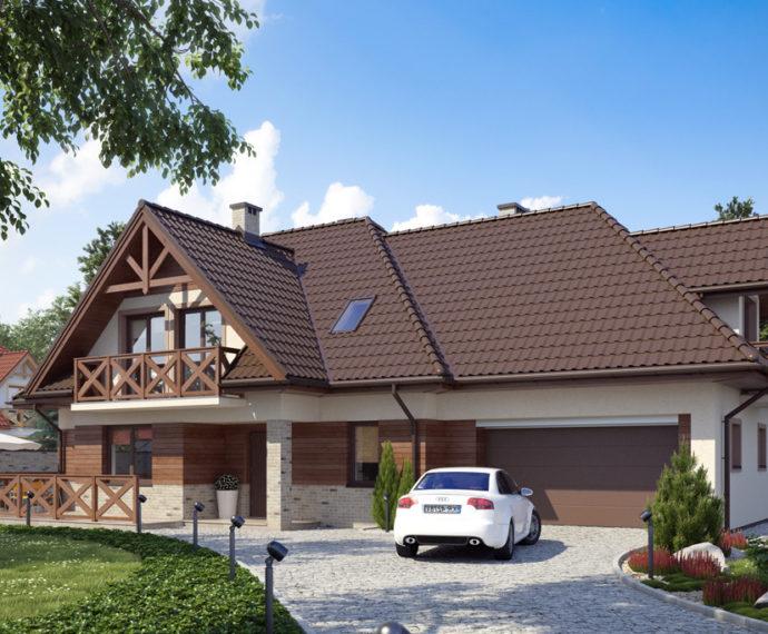 Проект мансардного дома с террасой и гаражом S169 - фото №1