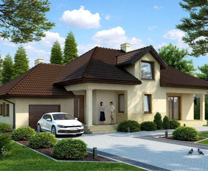 Проект мансардного дома с террасой и гаражом S171 - фото №1