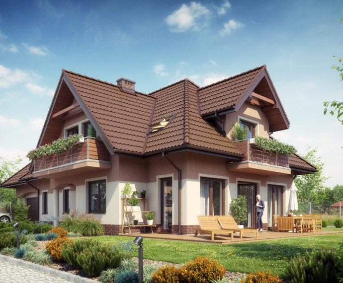 Проект мансардного дома с террасой и гаражом S173 - фото №1