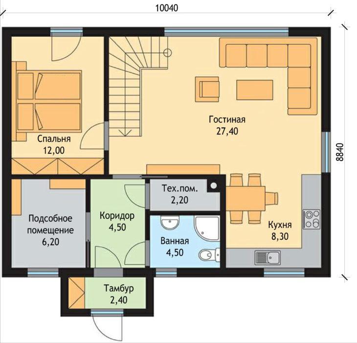 План 1 этажа мансардного дома S60