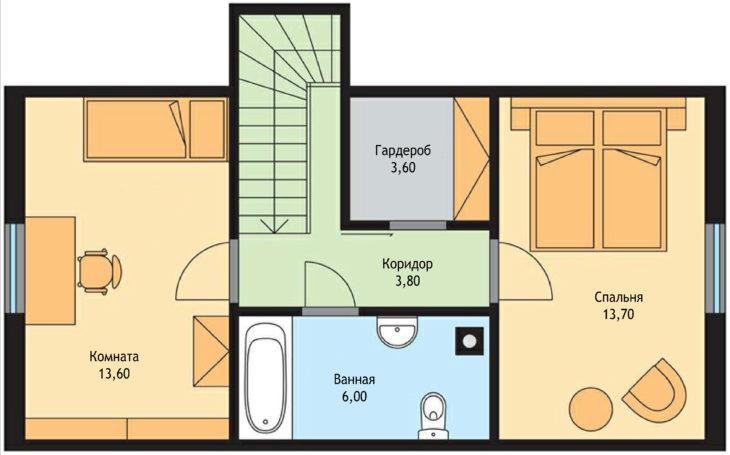План 2 этажа мансардного дома S60