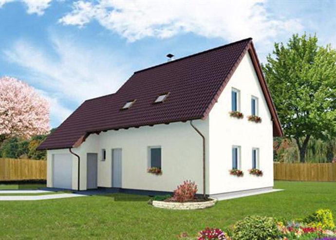 Проект мансардного дома с гаражом S64 - фото №1
