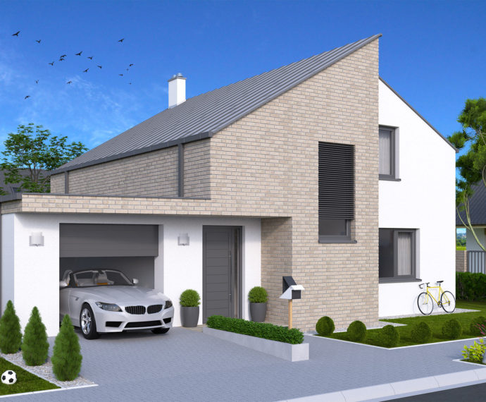 Проект мансардного дома с террасой и гаражом S70 - фото №1