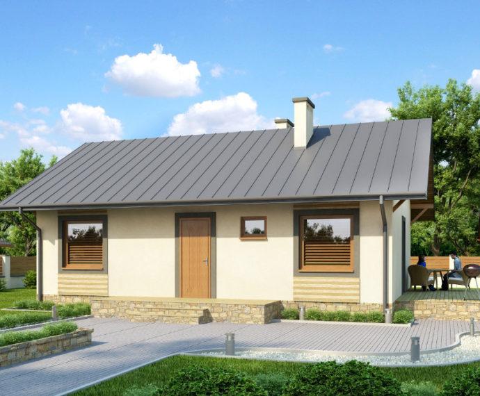 Проект мансардного дома с террасой S73 - фото №1