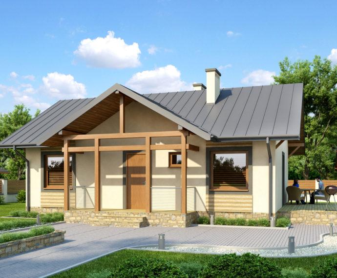 Проект мансардного дома с террасой S74 - фото №1