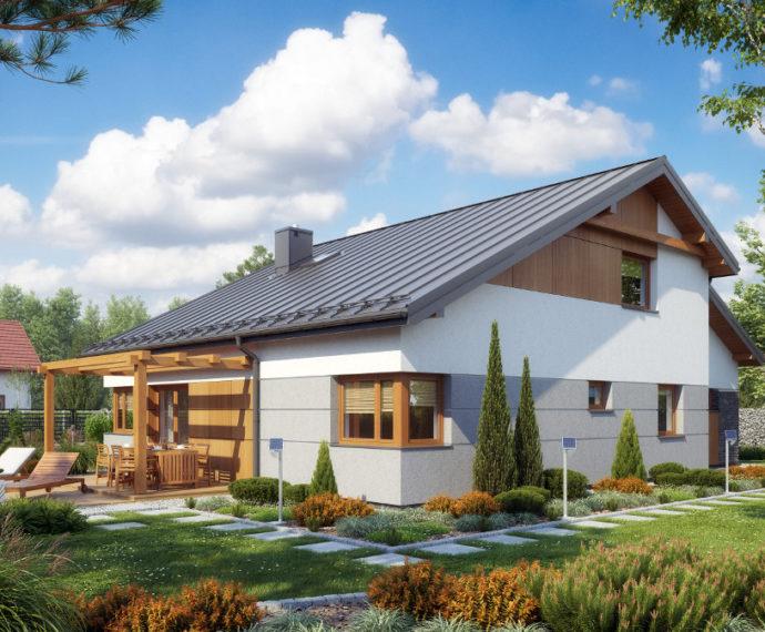 Проект мансардного дома с террасой и гаражом S75 - фото №1