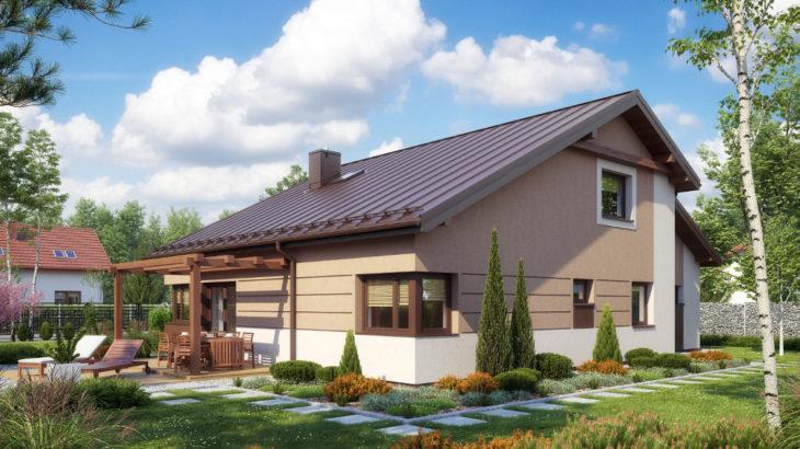 Проект мансардного дома с террасой и гаражом S75 - фото №2