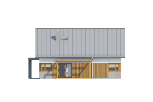 Фасад мансардного дома с террасой и гаражом S75 - вид справа