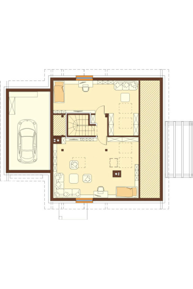 План 2 этажа мансардного дома с террасой и гаражом S75 - вариант 2