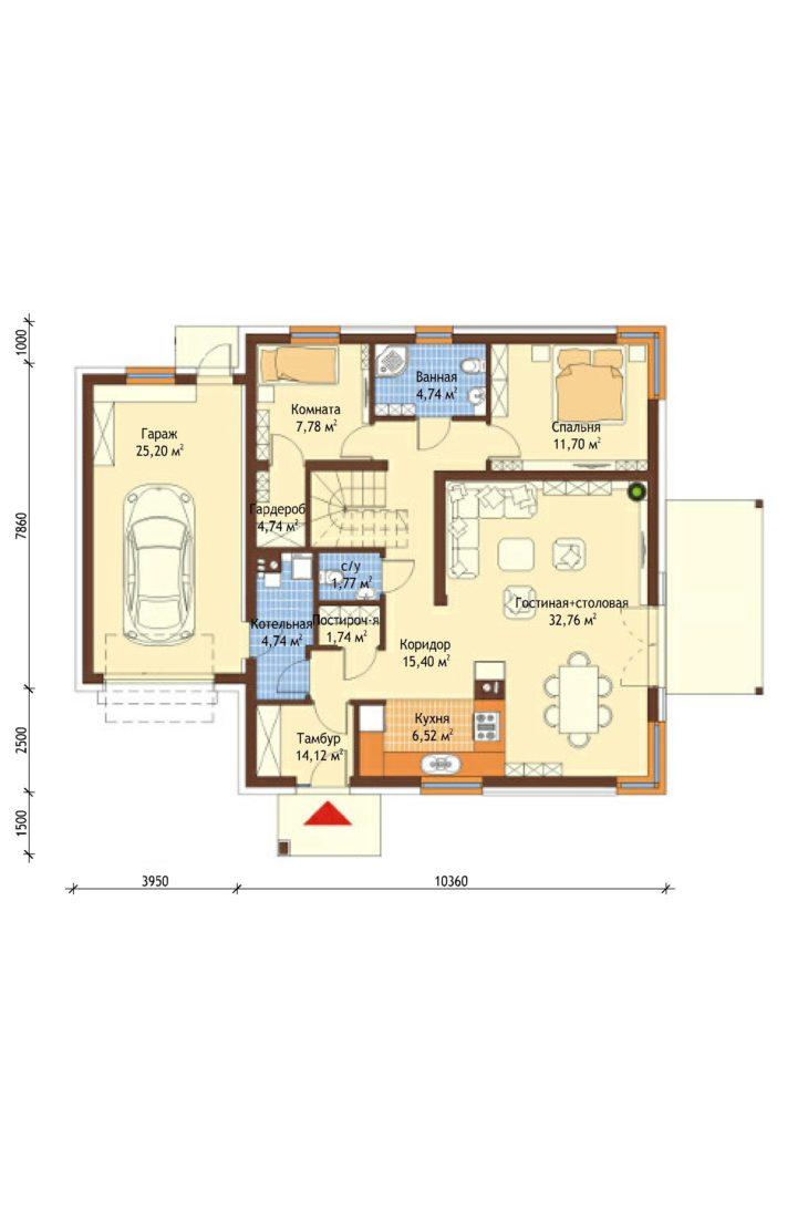 План 1 этажа мансардного дома с террасой и гаражом S75