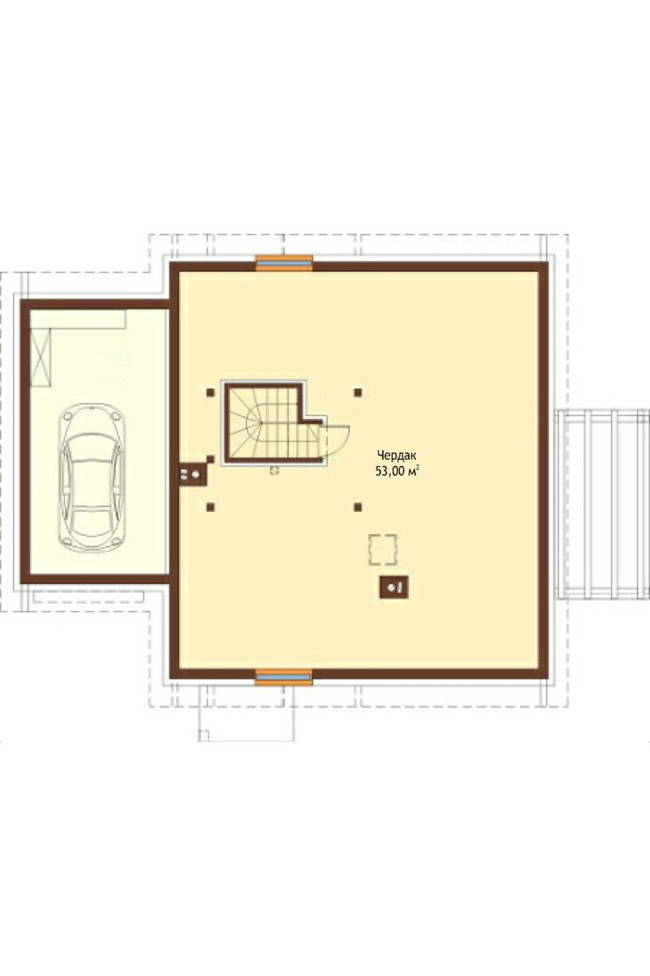 План 2 этажа мансардного дома с террасой и гаражом S75 - вариант 1