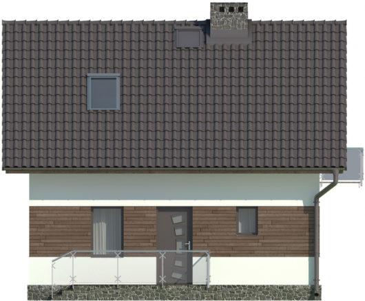 Фасад мансардного дома S76 - вид слева