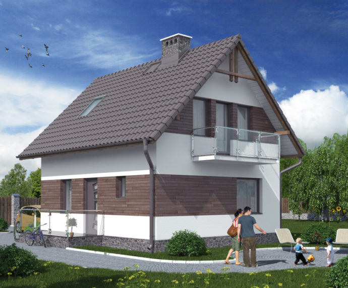 Проект мансардного дома S76 - фото №1