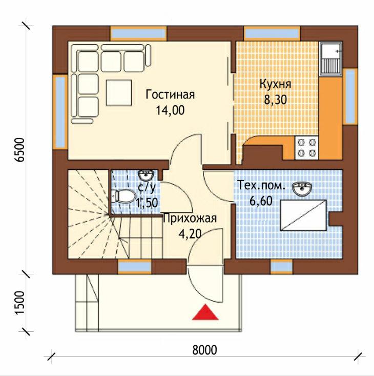 План 1 этажа мансардного дома S76