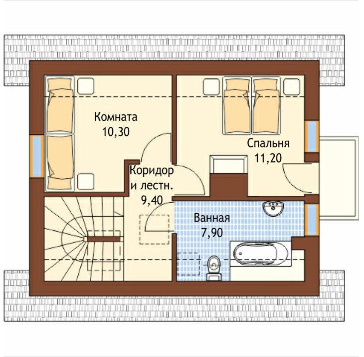 План 2 этажа мансардного дома S76