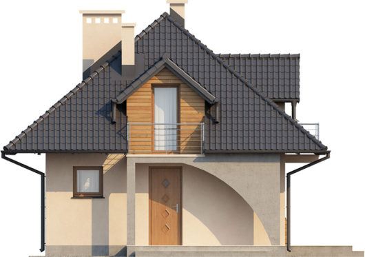 Фасад мансардного дома с террасой S77 - вид спереди