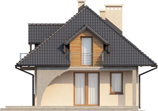 Фасад мансардного дома с террасой S77 - вид сзади