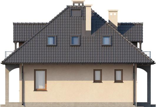 Фасад мансардного дома с террасой S77 - вид справа