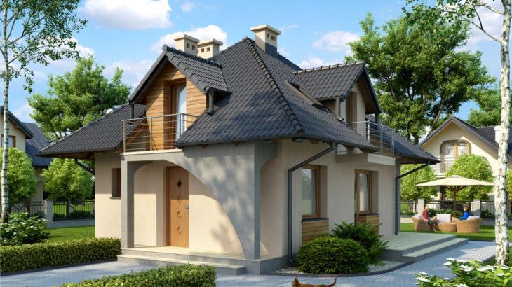 Проект мансардного дома с террасой S77 - фото №1