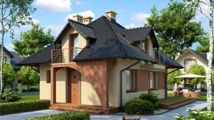 Проект мансардного дома с террасой S77 - фото №2