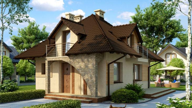 Проект мансардного дома с террасой S77 - фото №4