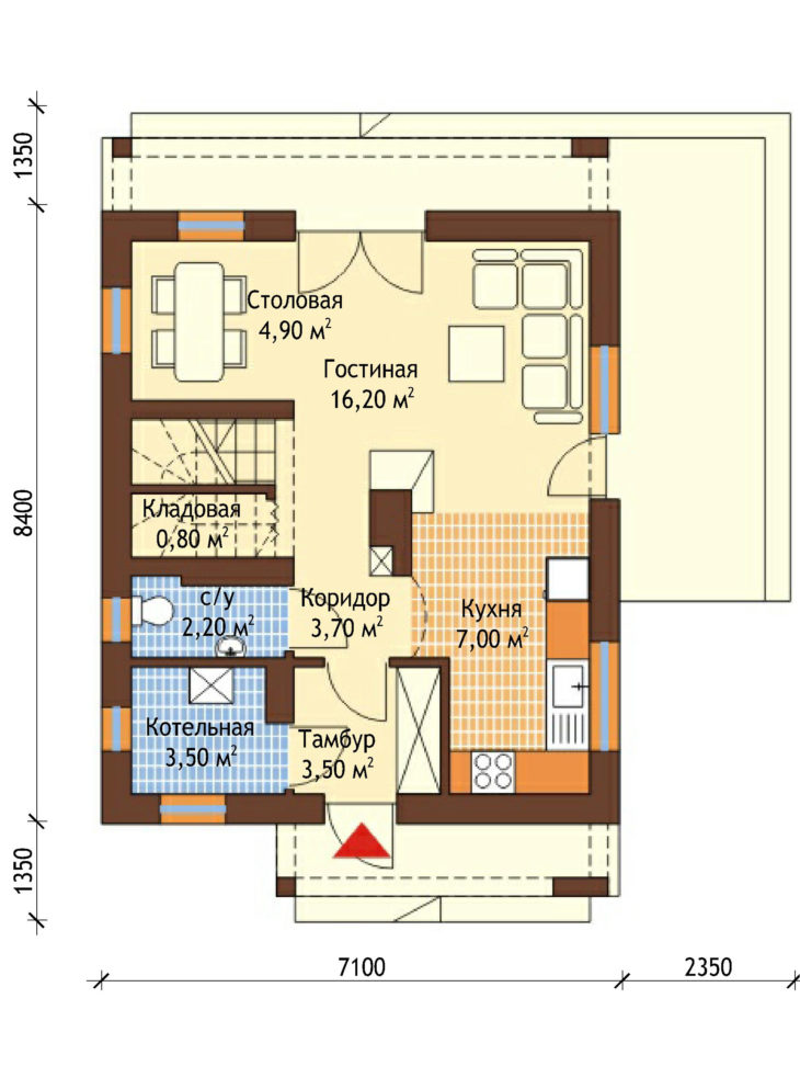 План 1 этажа мансардного дома с террасой S77