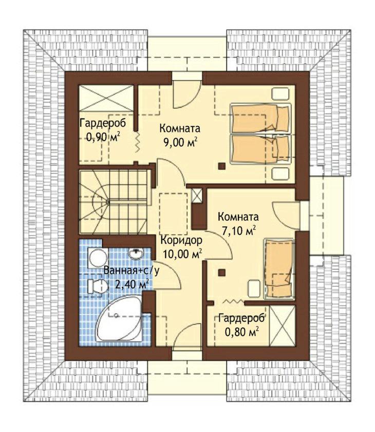 План 2 этажа мансардного дома с террасой S77