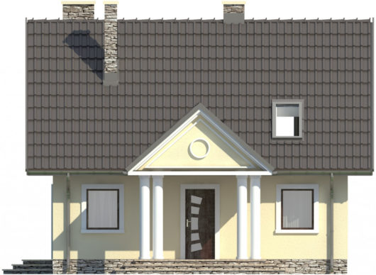 Фасад мансардного дома S79 - вид спереди
