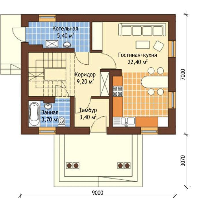 План 1 этажа мансардного дома S79