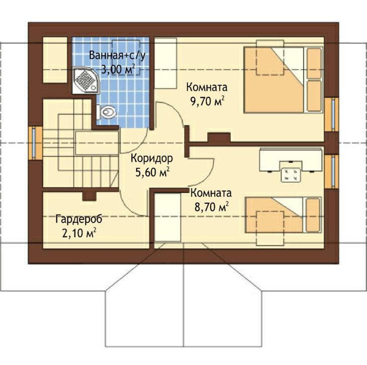 План 2 этажа мансардного дома S79