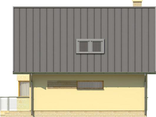 Фасад мансардного дома с террасой S80 - вид сзади