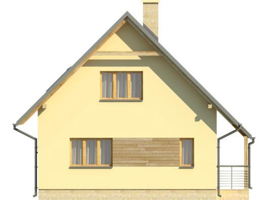 Фасад мансардного дома с террасой S80 - вид слева
