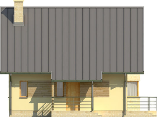 Фасад мансардного дома с террасой S80 - вид спереди