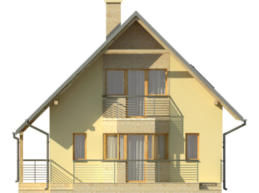 Фасад мансардного дома с террасой S80 - вид справа