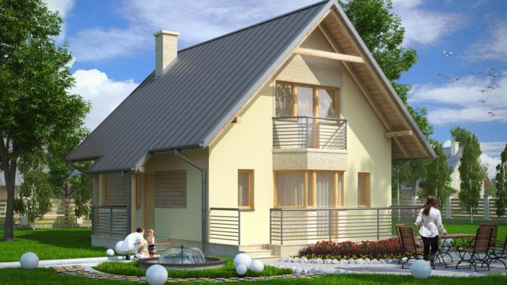 Проект мансардного дома с террасой S80 - фото №1
