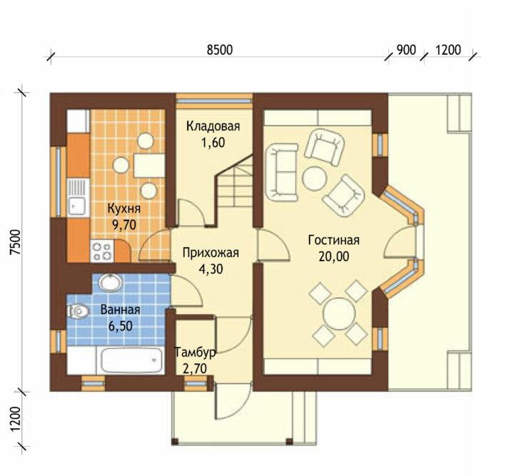 План 1 этажа мансардного дома с террасой S80