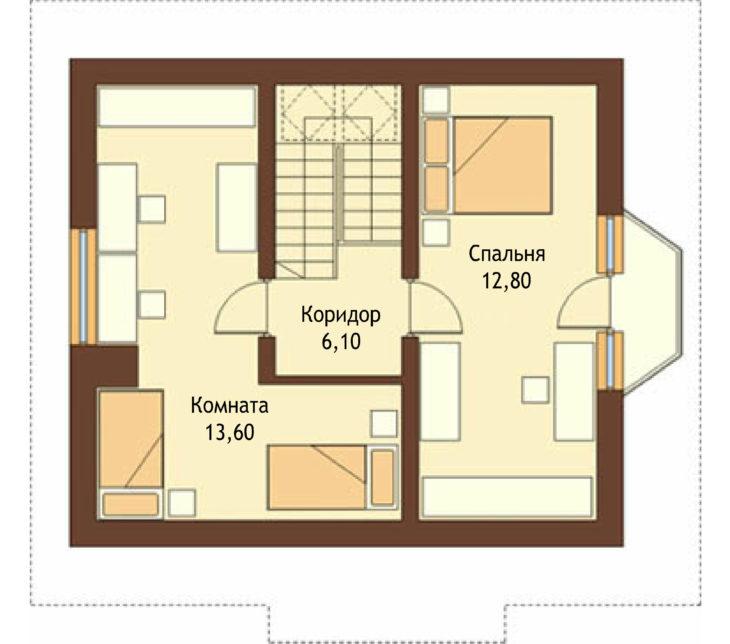 План 2 этажа мансардного дома с террасой S80