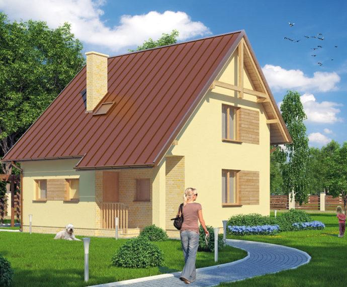Проект мансардного дом S81 - фото №1