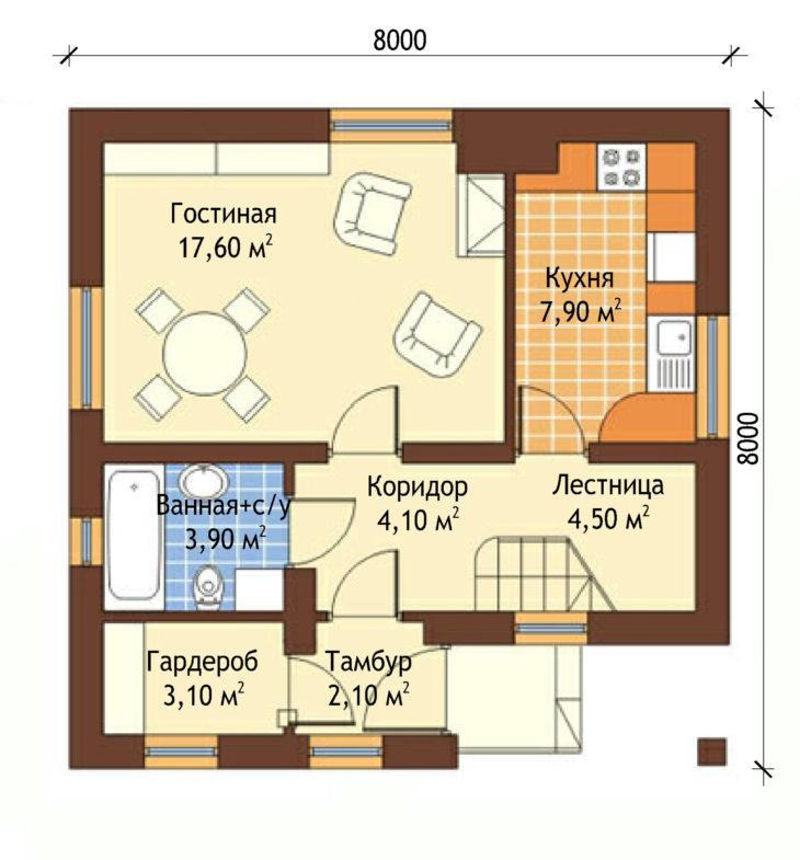 План 1 этажа мансардного дом S81