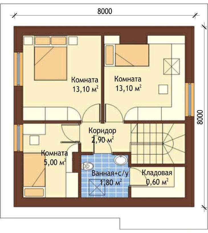 План 2 этажа мансардного дом S81