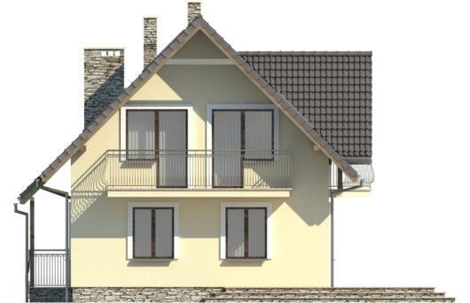 Фасад мансардного дома S82 - вид слева