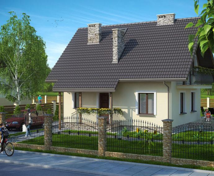 Проект мансардного дома S82 - фото №1