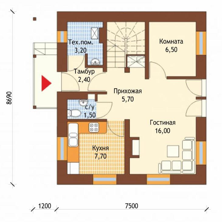 План 1 этажа мансардного дома S82