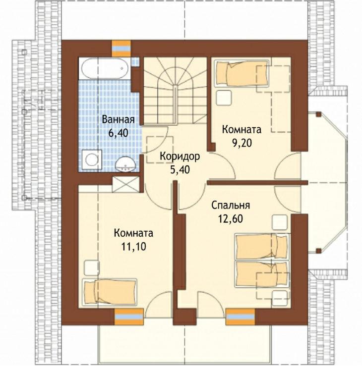План 2 этажа мансардного дома S82