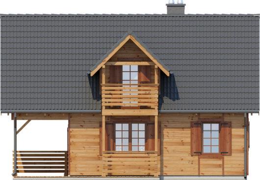 Фасад мансардного дома с террасой S83 - вид слева