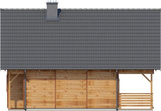 Фасад мансардного дома с террасой S83 - вид справа